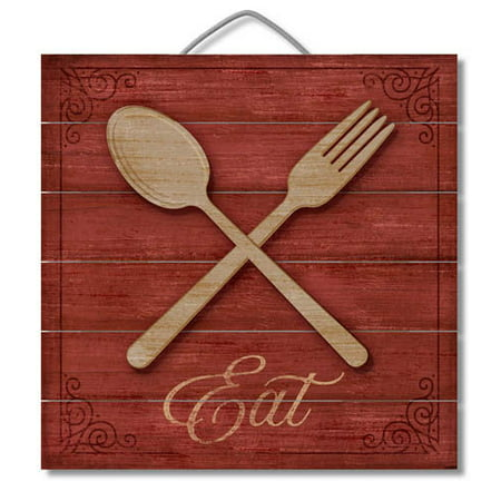 Slatted Pallet Wood Sign with 3D Accent Piece Eat Red Fork Wall Decor 12