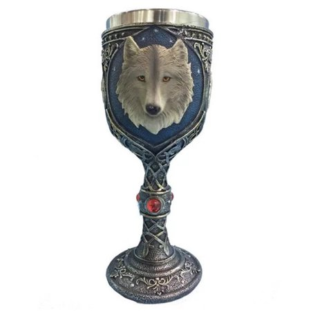 Creative 3D Wolf Head Type Stainless Steel Cup Wine Goblet Halloween Dining Table Party Decoration (Halloween Goblets Bulk)