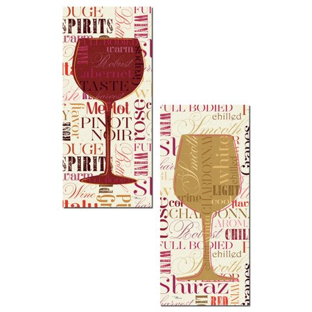 Modern Red and White Wine Bottle Typography Print Panels by Pela Studio; Two 8x18in Poster