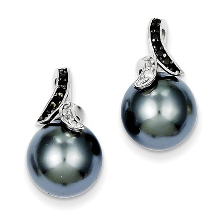 Sterling Silver black and clear CZ Gray Shell Pearl Earrings