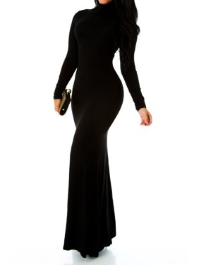 cbca6de0b937 Sexy Fitted Long Sleeve Turtleneck Bodycon Mermaid Maxi Long Dress