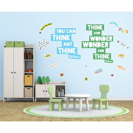 Halloween Dr. Seuss Quotes (Dr. Seuss Street Art Think and Wonder Inspirational Quote Giant Wall)