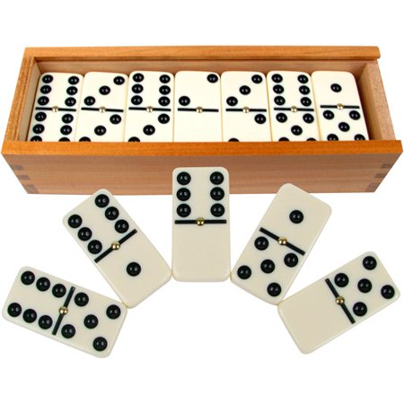 Dominoes Set- 28 Piece Double-Six Ivory Domino Tiles Set, Classic Numbers Table Game with Wooden Carrying/Storage Case by Hey! Play! (2-4 Players)