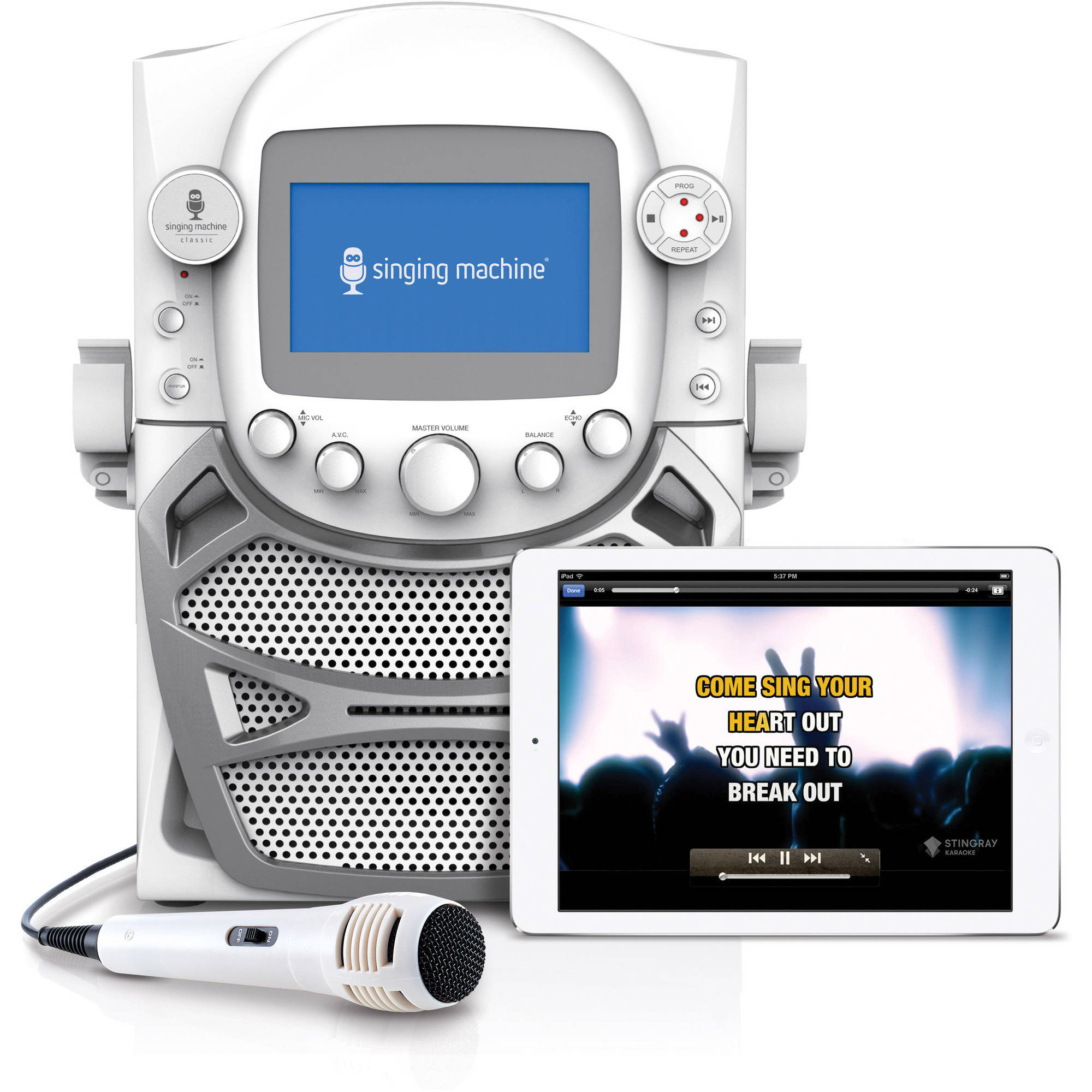 "Singing Machine CD+G Karaoke Bluetooth System with Built-In 5"" Color TFT Monitor and Microphone"