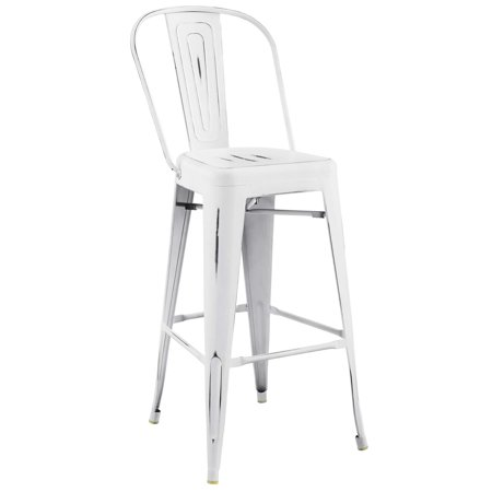 Industrial Country Cottage Farm Beach House Bar Pub and Dining Kitchen Bar Side Stool Chair, Metal Steel, White ()