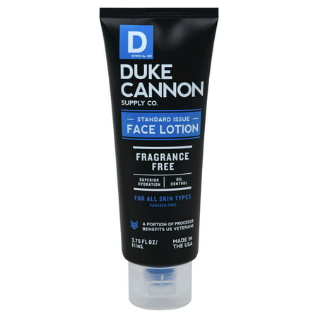 DUKE CANNON SUPPLY Face Lotion, Fragrance Free, 3.75 FL OZ