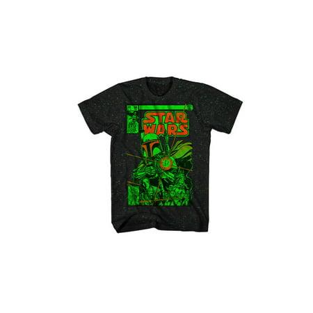 Mad Engine Star Wars Boba Wars-2 Black/Kelly Green Mens Shirt, (2 1 2 Men Female Guest Stars)
