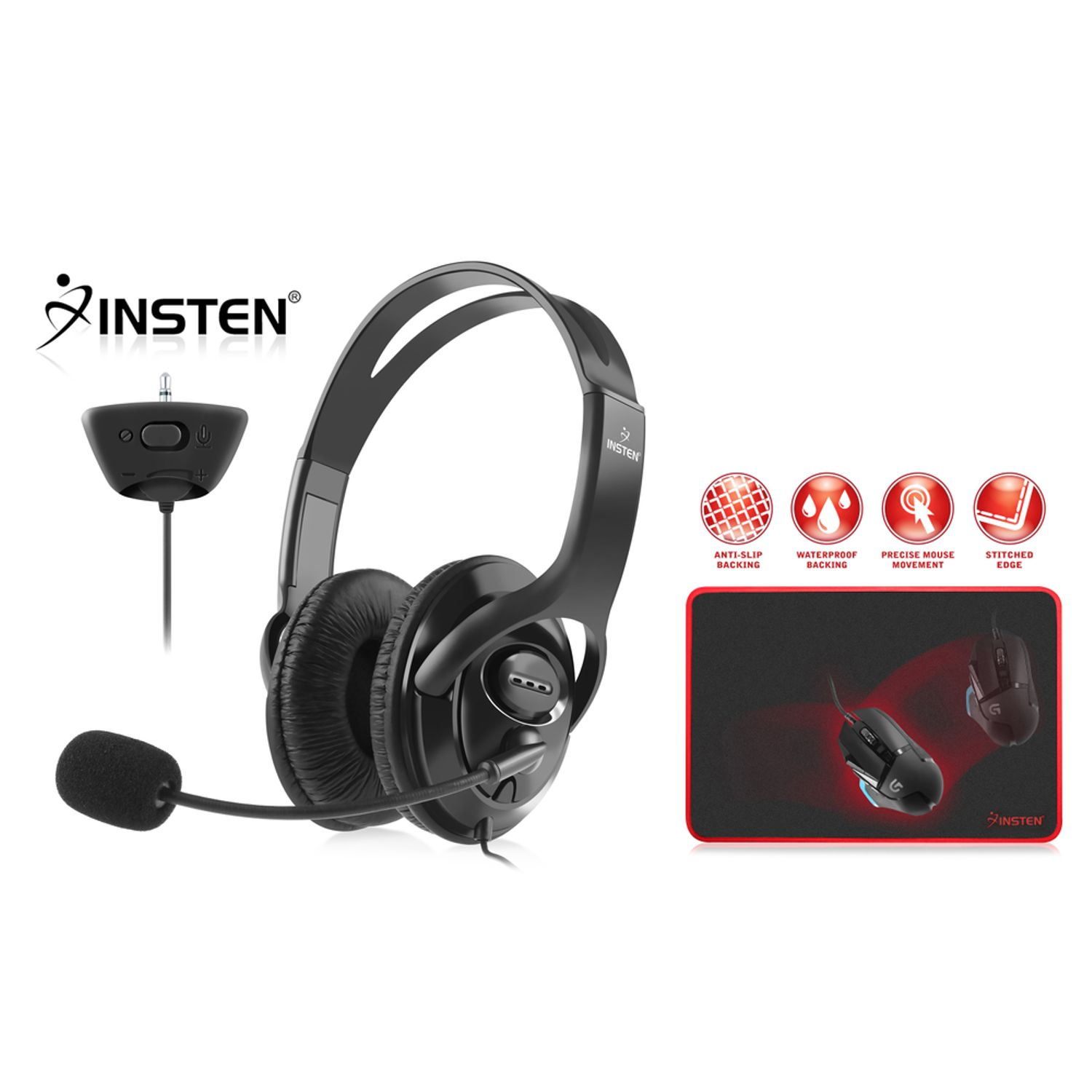 """Insten Gaming Headset with Microphone For PS4 MicroSoft XBox 360 Black + Gaming Mouse Pad Mat (13.8 x 10.2"""")"""