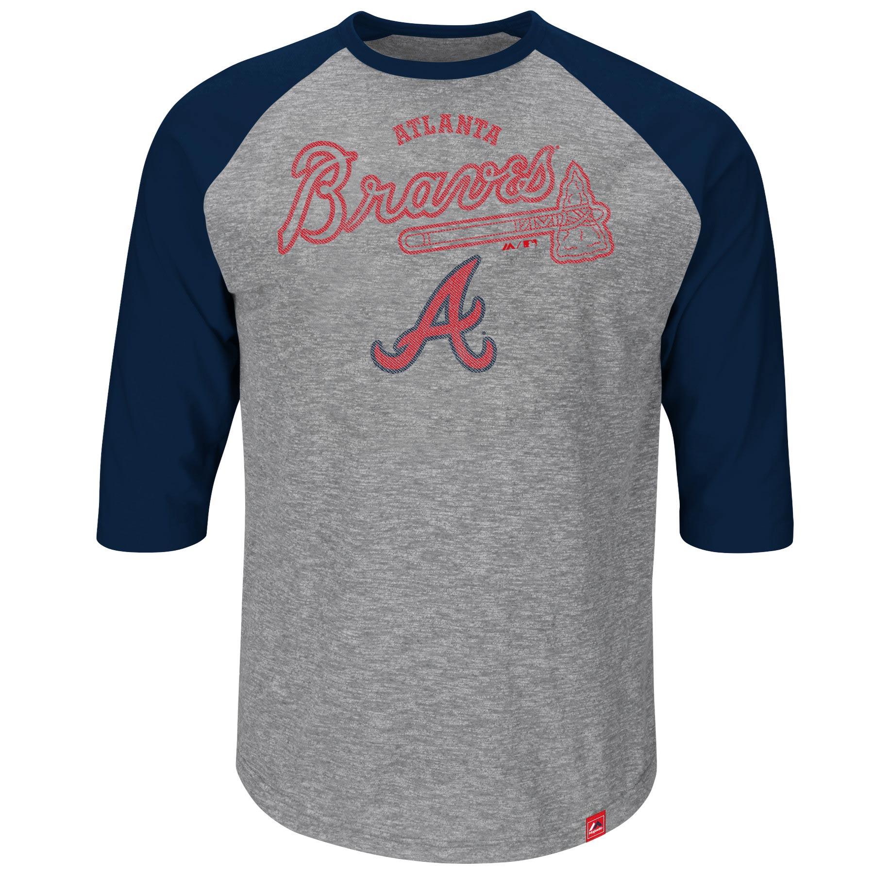 Atlanta Braves Majestic Fast Win Three-Quarter Raglan Sleeve T-Shirt - Gray