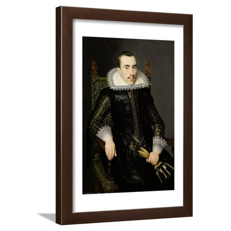 Portrait of a Man, Possibly Walterus Fourmenois (A Man from the Boudaen Courten Family) Framed Print Wall Art By Salomon Mesdach