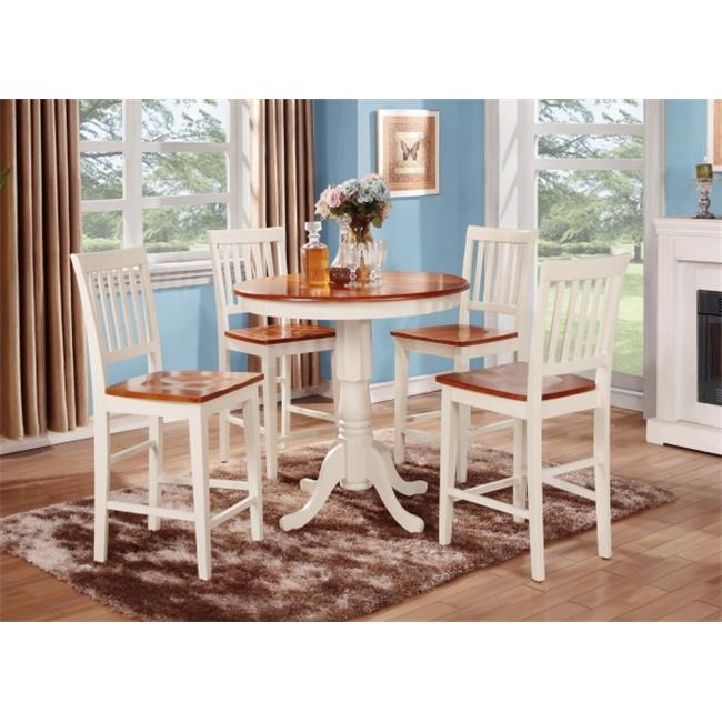 East West Furniture JAVN5-WHI-W 5PC Set Jackson Counter Height Table in Buttermilk and Cherry Finish