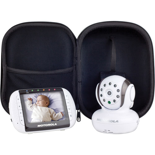 """Motorola 2.4 GHz Wireless Video and Audio Baby Monitor with 3.5"""" Color Screen and Case"""