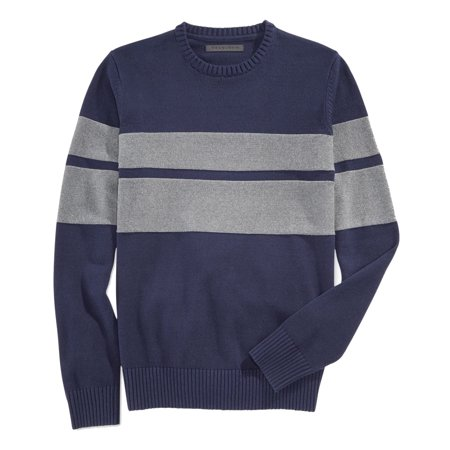 - NEW Blue Gray Chest-Stripe Mens Size Large L Crewneck Sweater