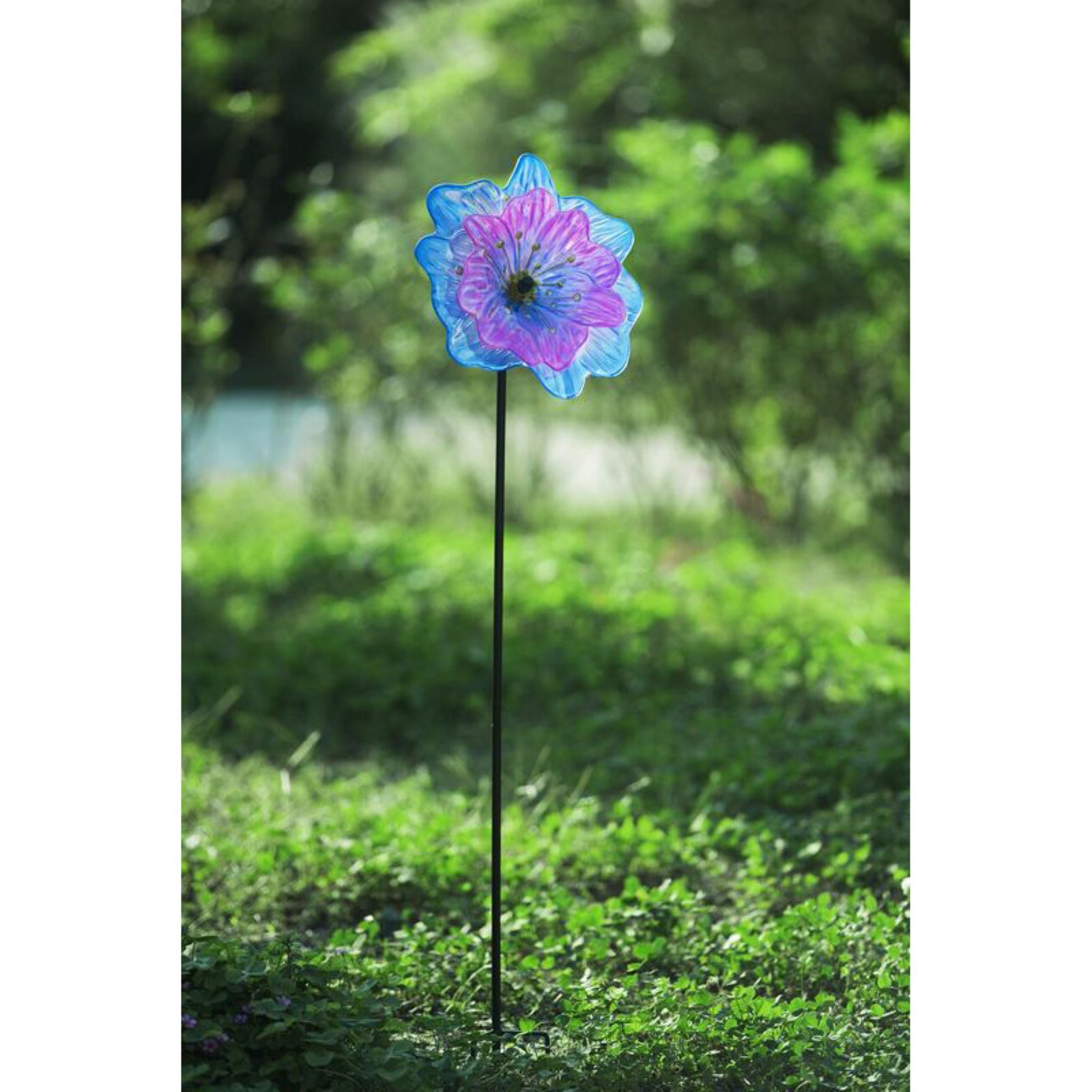 Sunjoy 110309015 Glass Multi Color Flower Garden Stake by SunNest Services LLC