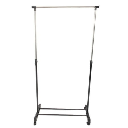 Single Rod Rolling Garment Rack Movable Adjustable Height Clothing Drying Hanging Hanger Shoes Clothes Rack