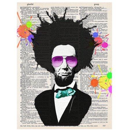 Art N Wordz Ray Ban Abraham Lincoln Splash Original Upcycled Dictionary Sheet Pop Art Wall or Desk Art Print (Original Ray Ban Shades)