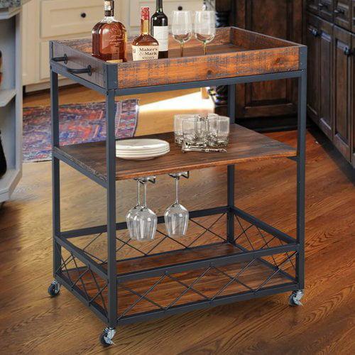 Gracie Oaks Caster Rustic Industrial Bar Cart