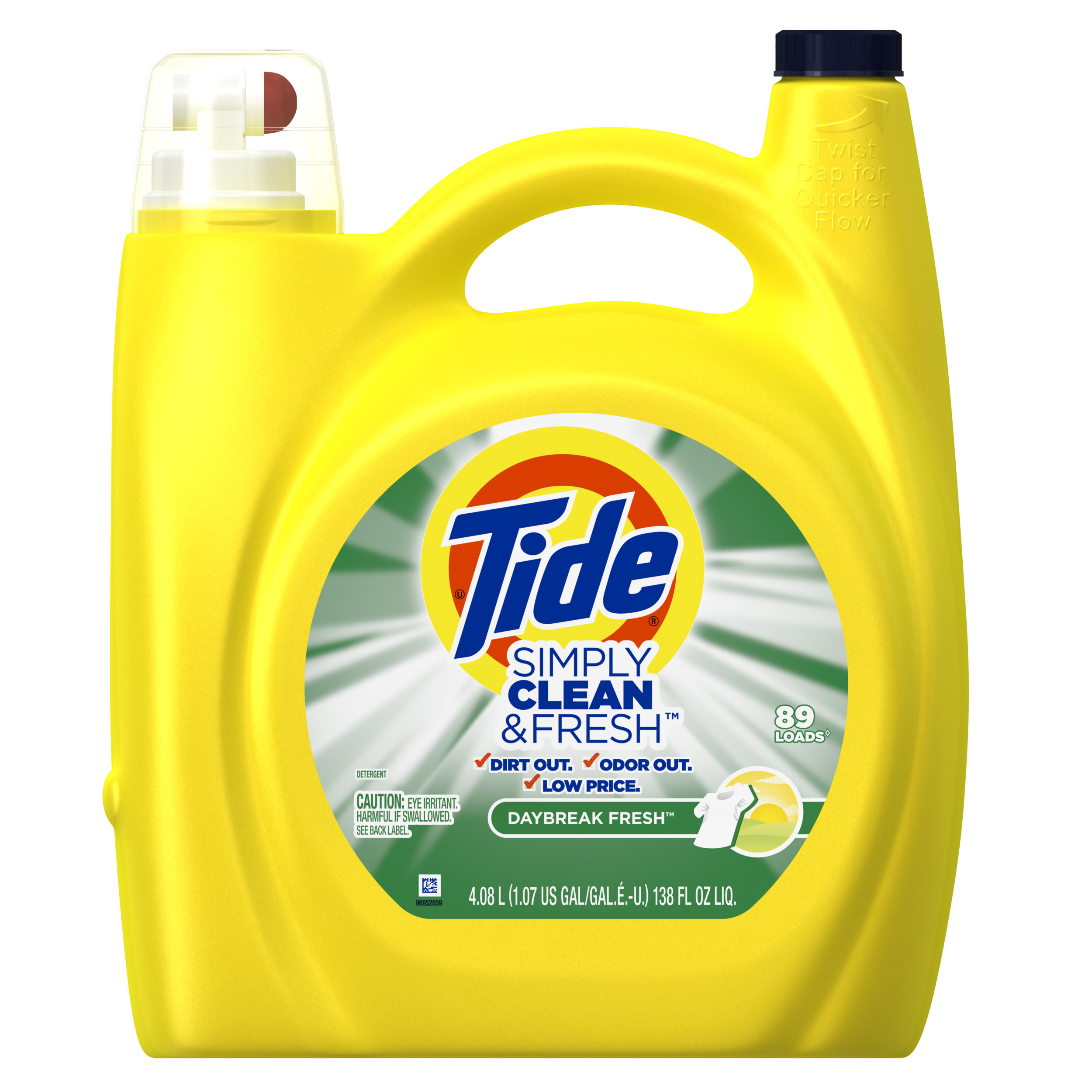 Tide Simply Clean and Fresh, Daybreak Fresh, Liquid Laundry Detergent, 89 Loads, 138 fl oz