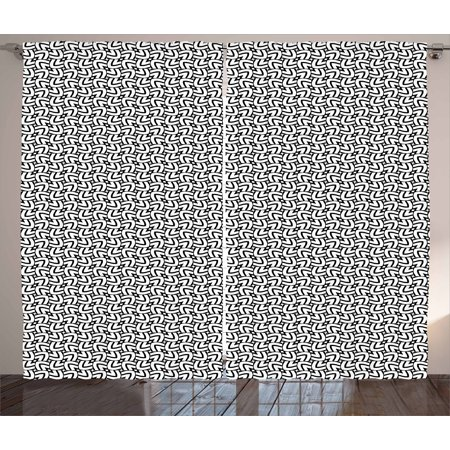 - Black and White Curtains 2 Panels Set, Grid Style Squares with Lines Traditional Geometric Motifs of Middle East, Window Drapes for Living Room Bedroom, 108W X 84L Inches, Black White, by Ambesonne