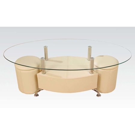 82020 sandy rectangular coffee table and ottoman set with clear glass top metal frame and pu. Black Bedroom Furniture Sets. Home Design Ideas