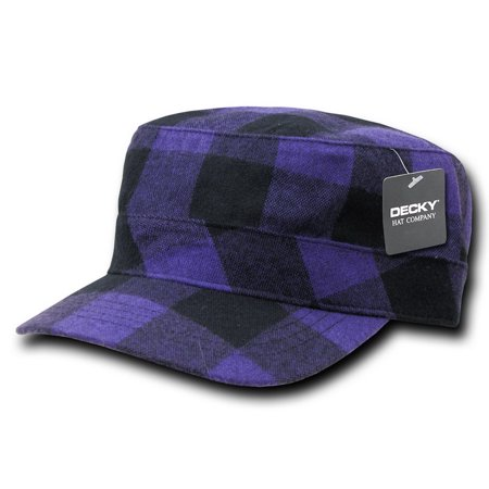 decky 905-plaid-pur flannel flat top caps, purple - Flannel Cap