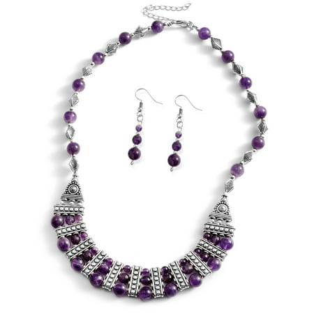 One Tme Only Amethyst Silvertone and Stainless Steel Earrings and Bib Necklace Set Size 18-20