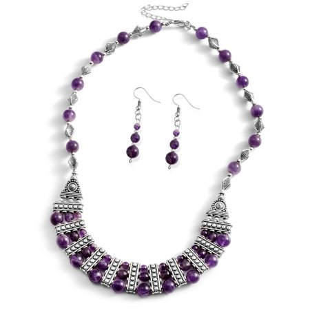 One Tme Only Amethyst Silvertone and Stainless Steel Earrings and Bib Necklace Set Size -