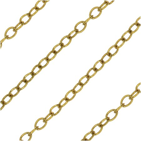 Nunn Design Bulk Chain, Delicate Cable Links 2.5x2mm, By the Foot, Antiqued (Cable Chain Design)