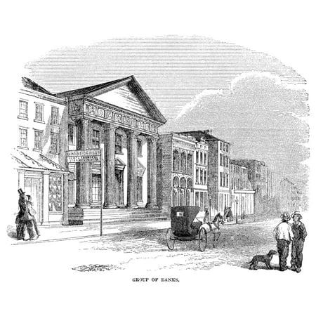 Charleston Banks 1857 Na Group Of Banks In Charleston South Carolina Wood Engraving 1857 Rolled Canvas Art     24 X 36