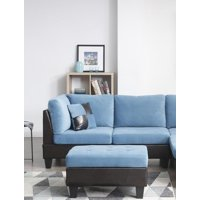 Bonded Leather and Champion Ottoman, Blue