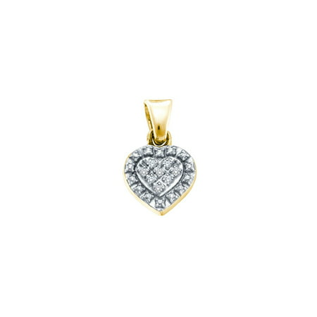 Yellow-tone Sterling Silver Womens Round Diamond Small Heart Pendant .03 Cttw = .03 Cttw (I3 Clarity, round