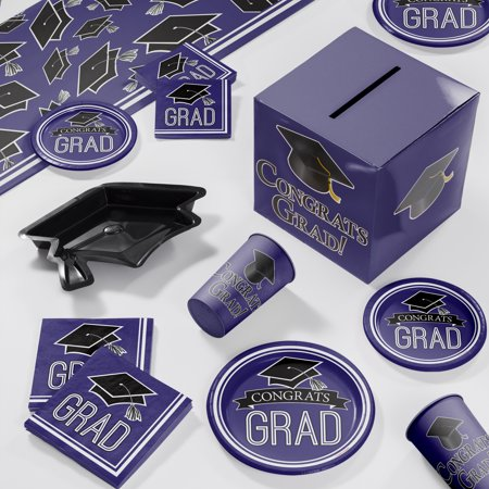 Graduation School Spirit Purple Deluxe Party Supplies Kit