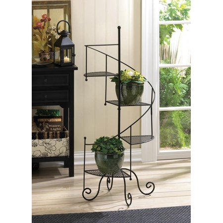 Decorative Spiral Staircase Plant Stand and Flower Pot Rack with 4 Display Shelves for Indoor Garden Decor or Sun Room by Home 'n (Best Plants For Screened Porch)