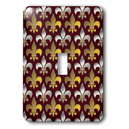 3dRose Gold and silver colored fleur de lis pattern crimson red background, Single Toggle Switch