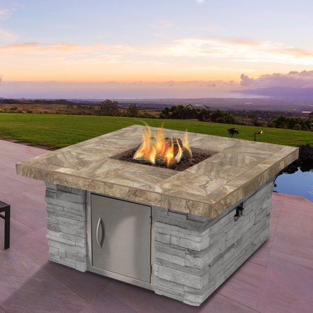 Cultured Stone Propane Gas Fire Pit in Gray with Log Set and Lava Rocks