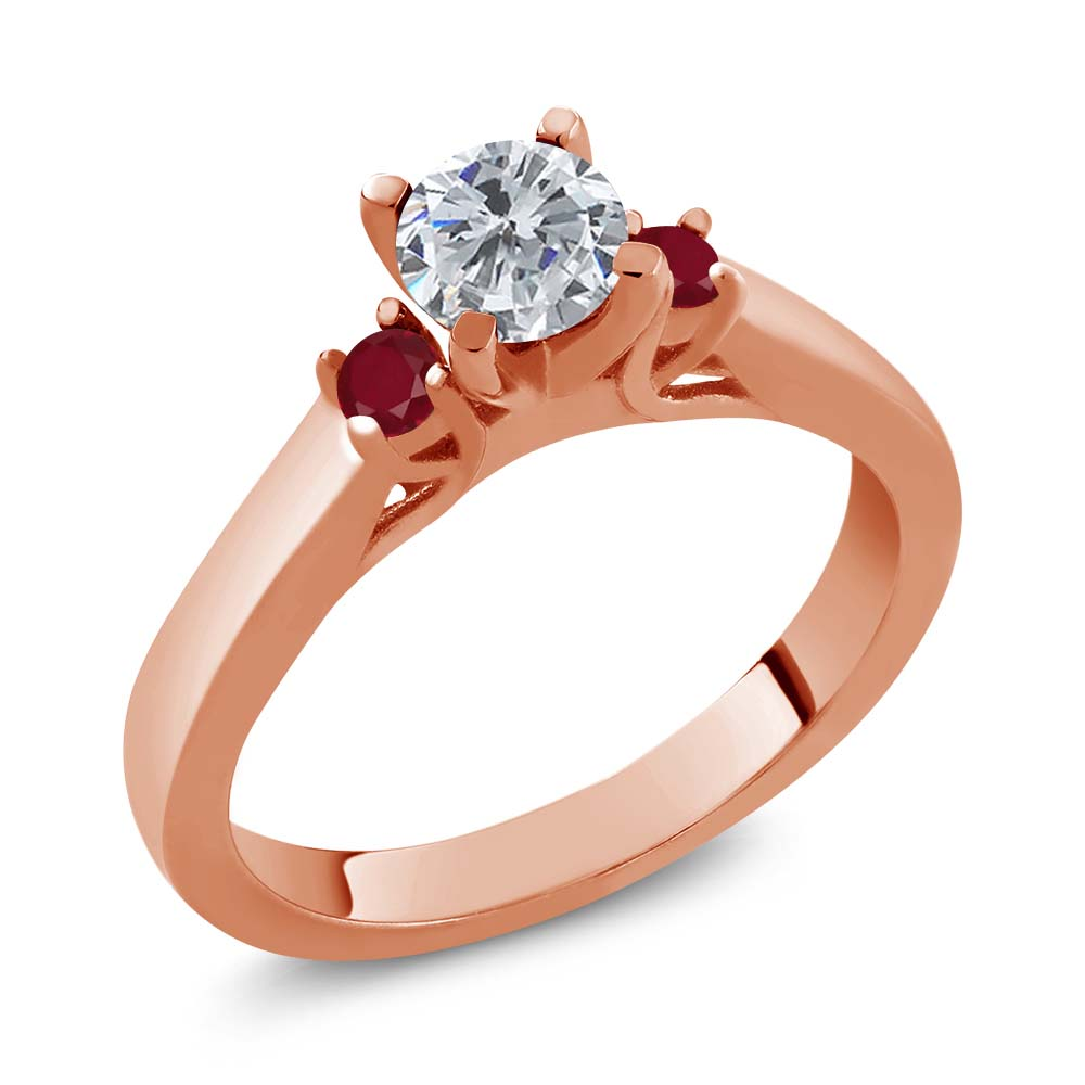0.74 Ct Round G/H Diamond Red Ruby 18K Rose Gold 3-Stone Ring
