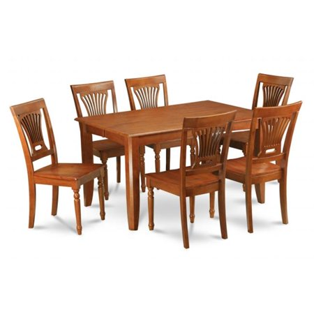 - Wooden Imports Furniture PFAV9-SBR-W 9PC Parfait Square Table with 18Butterfly Leaf & 8 Wood Seat Chairs in Saddle Brown Finish