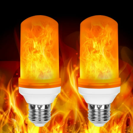 2 Pack LED Flame Effect Fire Light Bulbs E26 Flickering Fire Atmosphere Decorative - Halloween Flickering Light Bulbs