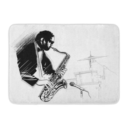 GODPOK Artist Black Man Saxophone Player with Microphone and Drum Adult Blow Rug Doormat Bath Mat 23.6x15.7 inch (Blow Up Saxophone)