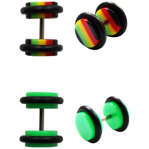 Steel and Acrylic Illusion Plug Set, Rasta and Green
