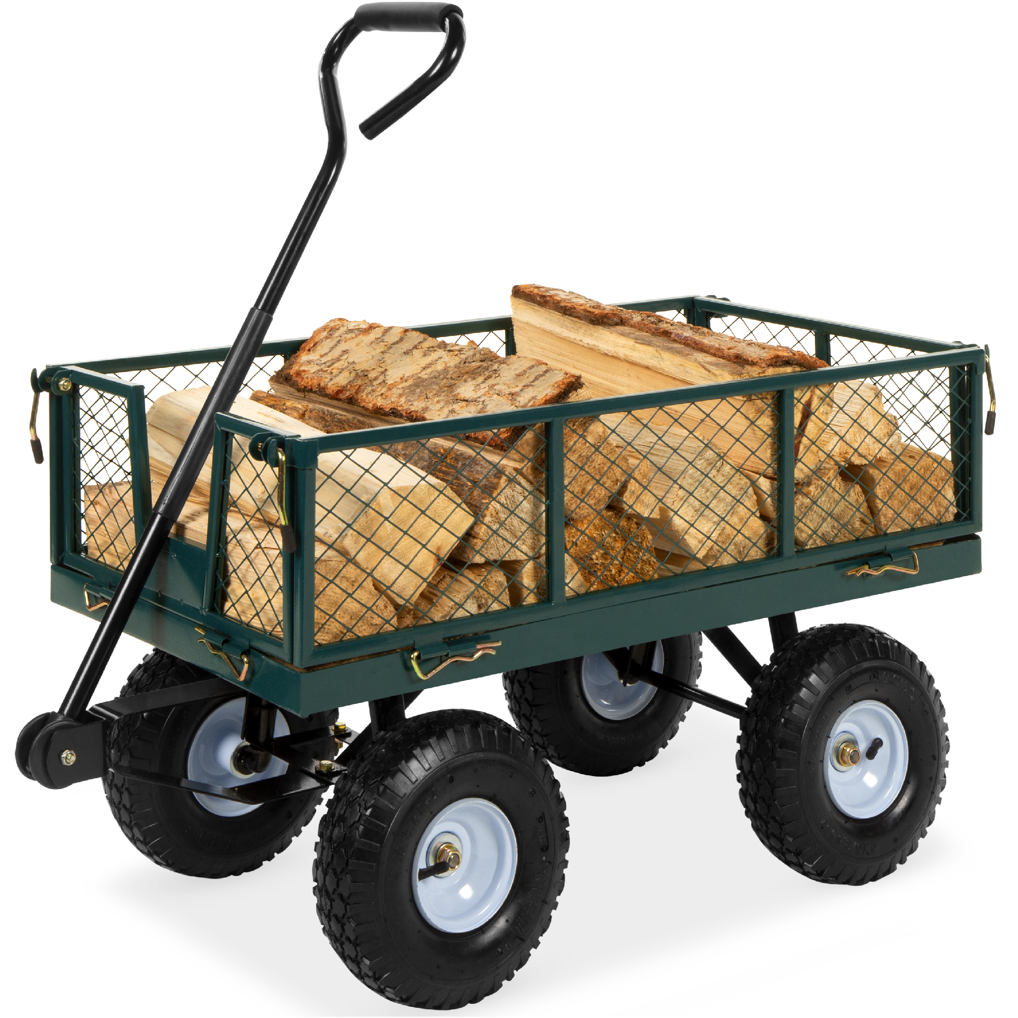 Best Choice Products Heavy Duty Steel Garden Wagon Lawn Utility Cart W 400lb Capacity Removable Sides Handle Green Walmart Com Walmart Com