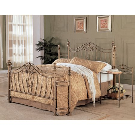 Coaster Traditional Sydney Metal Queen Bed With Antique Gold Finish 300171Q Antique Gold Metal Bead