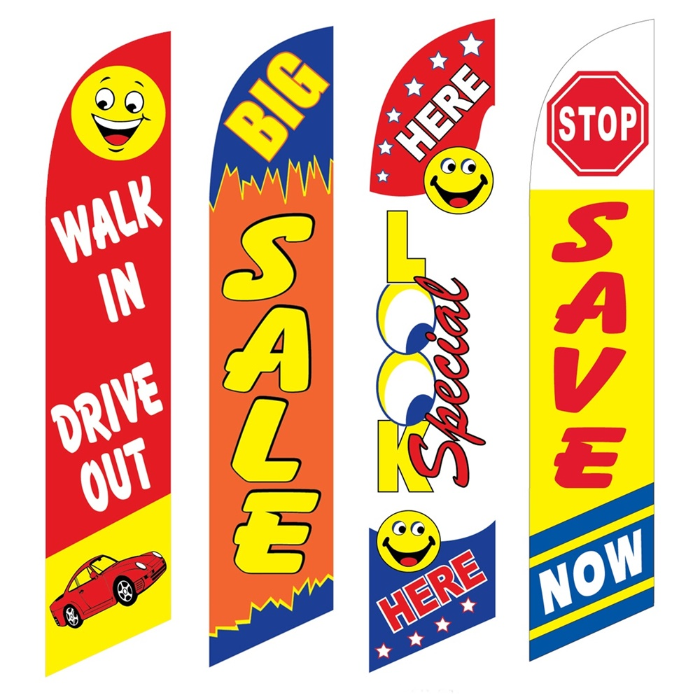 4 Advertising Swooper Flags Walk In Drive Out Big Sale Look Special Here Save Now