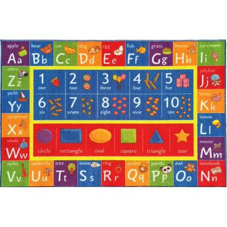 Kc Cubs Playtime Collection Abc  Numbers  And Shapes Multicolor Polypropylene Educational Area Rug  50 X 66