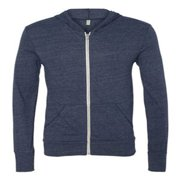 Alternative Apparel Eco Long Sleeve Zip Hooded Sweatshirt. Eco True Navy. 2XL.