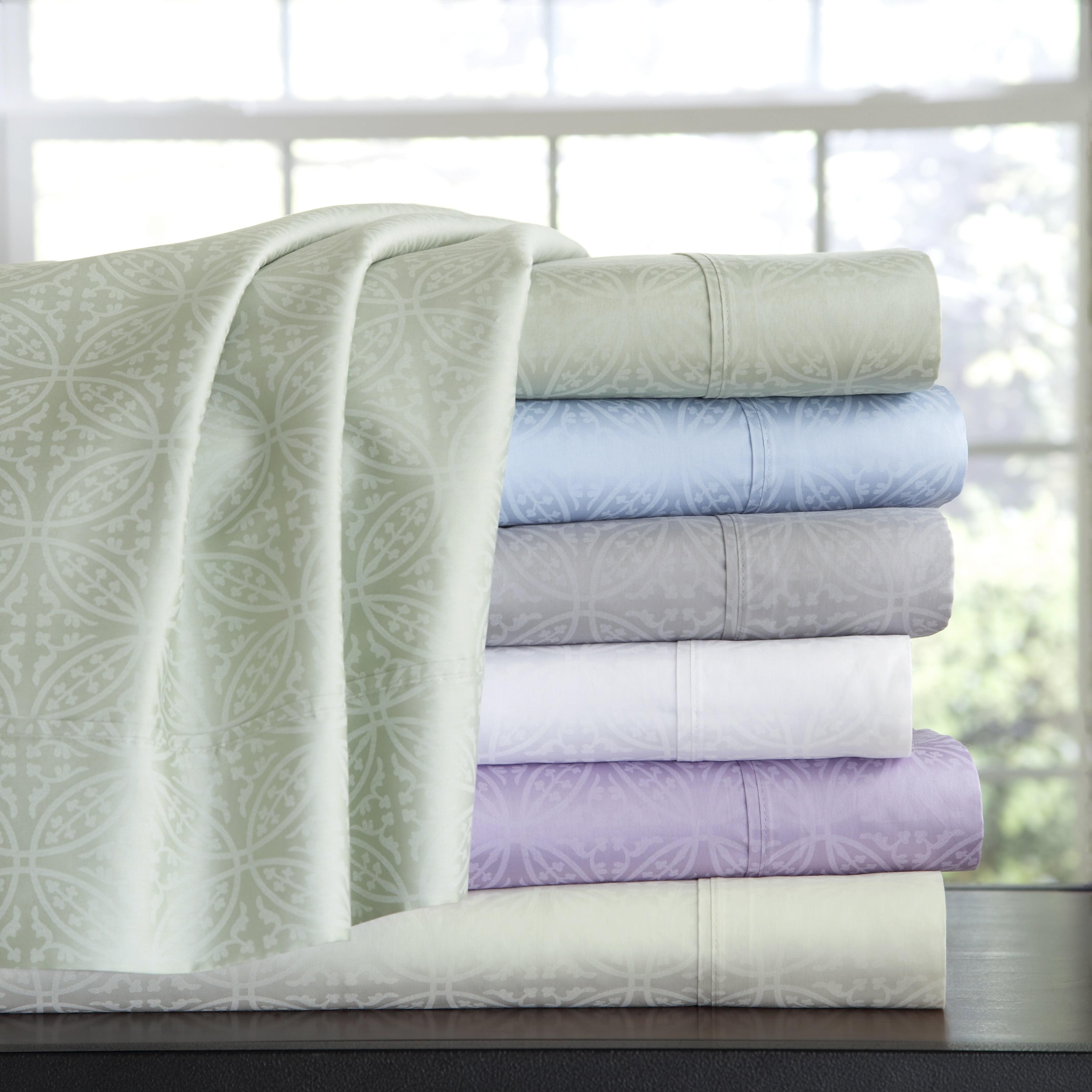 Pointehaven 300 Thread Count Cotton Tone-on-Tone Printed Sheet Set Full - Lavender