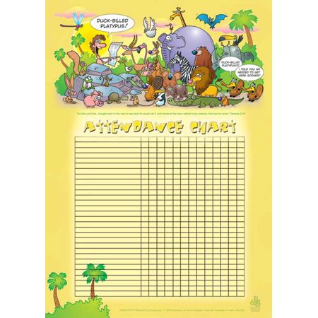 Attendance Chart-Adam Names The Animals w/Genesis 2:19 (20
