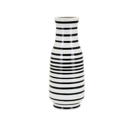 "14.25"" Black and White Striped Parisa Small Decorative Ceramic Vase"