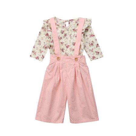 2PCS Toddler Kids Baby Girl Winter Clothes Floral Tops+Pants Overall Outfits (Girls Overall Set)