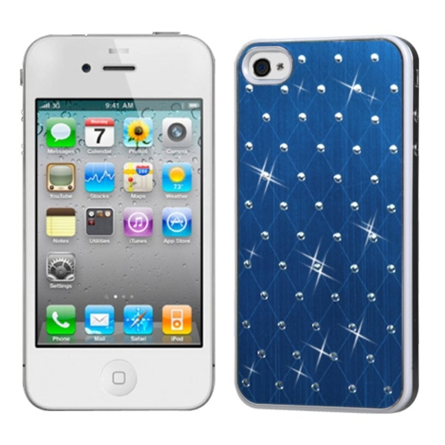 Insten Dark Blue Studded Back Plate Case Cover (White Sides) For iPhone 4 4S